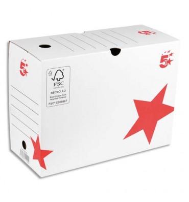 5 ETOILES Boîte à archives dos de 20 cm, en carton ondulé kraft blanc
