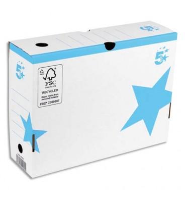 5 ETOILES Boîte à archives couleur dos de 10 cm, en carton ondulé kraft blanc imprimé bleu