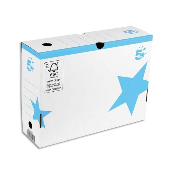5 ETOILES Boîte à archives couleur dos de 10 cm, en carton ondulé kraft blanc imprimé bleu (photo)