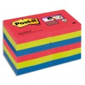 POST-IT Lot 12 blocs repositionnables Super Sticky Vitamine 4,76 x 4,76 cm, coloris assortis Bora Bora