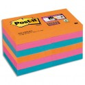 POST-IT Lot 12 blocs repositionnables Sticky Pétillantes 4,76 x 4,76 mm couleur assortis néon