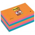 POST-IT Lot 6 blocs repositionnables Sticky Pétillantes 7,6 x 12,7 cm coloris assortis néon