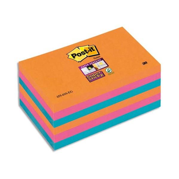POST-IT Lot 6 blocs repositionnables Sticky Pétillantes 7,6 x 12,7 cm coloris assortis néon