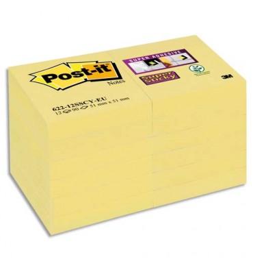 POST-IT Lot de 12 blocs repositionnables SUPERSTICKY 90 feuilles format 4,76 x 4,76 cm