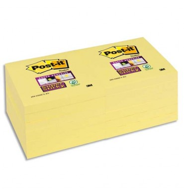 POST-IT Blocs repositionnables SUPER STICKY 90 feuilles - 7,6 x 7,6 cm