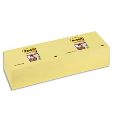 POST-IT Blocs repositionnables SUPERSTICKY 90 feuilles - 7,6 x 12,7 cm