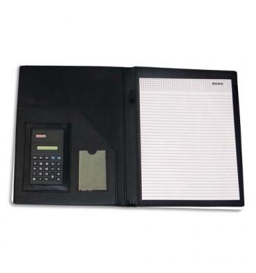 PAVO Conférencier PVC noir avec bloc ligné A4 et calculatrice solaire