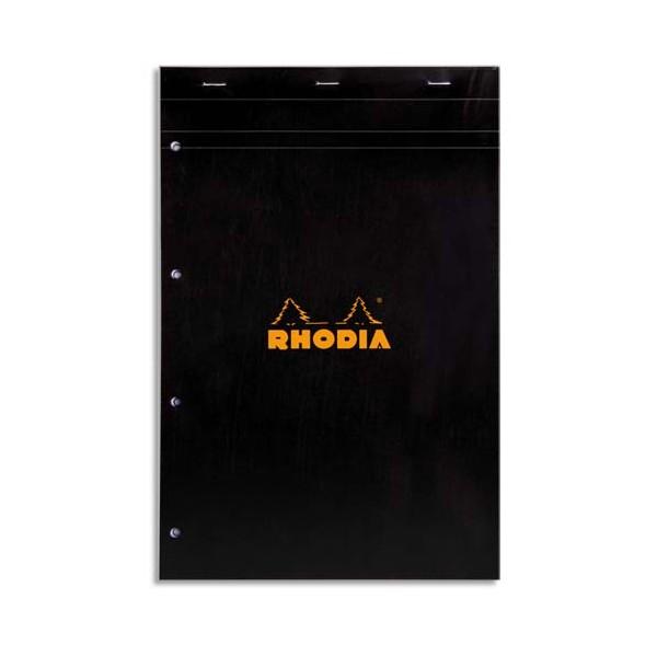 RHODIA Bloc N°20 agrafé 160 pages perforées 80g 5x5 21 x 31,8 cm Couverture carte enduite noire