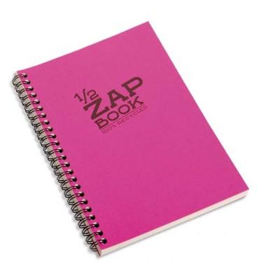 CLAIREFONTAINE Bloc 1/2 ZAP BOOK dos spiralé grand côté A5 160 pages unies Couvertures papier assorties
