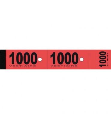 ELVE Blocs de 50 tickets vestiaire 3 x 20 cm rouge