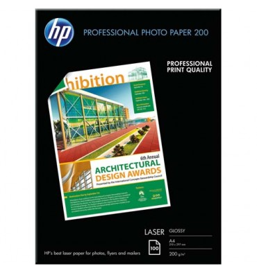HP Pack de 100 feuilles Papier photo professionnel laser brillant 200g A4