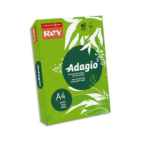 REY BY PAPYRUS Ramette de 500 feuilles papier couleur ADAGIO+ 80g A4 vert intense