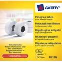 AVERY Boîte 10 rouleaux de 1500 étiquettes 1 ligne 26 x 12 mm (8 caractère)s blanches adhésif permanent PLP1226