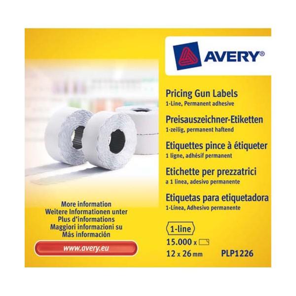 AVERY Boîte 10 rouleaux de 1500 étiquettes 1 ligne 26 x 12 mm (8 caractère)s blanches adhésif permanent PLP1226 (photo)