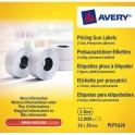 AVERY Boîte de 10 rouleaux de 1200 étiquettes 2 lignes (10+ 8 caractères) blanches adhésif permanent PLP1626