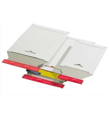 COLOMPAC Pochette d'expédition en carton blanc A4+, format 245 x 345 mm, hauteur jusque 3 cm