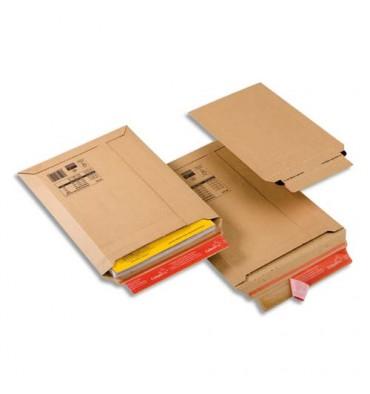 COLOMPAC Pochette d'expédition rigide en carton brun - Format : 250 x 340 mm, hauteur 5 cm