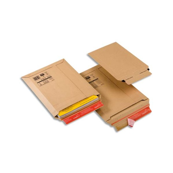 COLOMPAC Pochette d'expéditionrigide en carton brun - Format : 250 x 360 mm, hauteur 5 cm (photo)