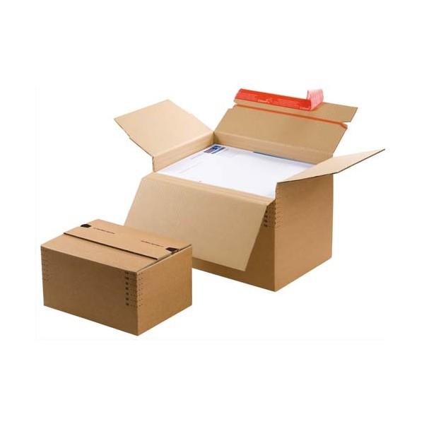 COLOMPAC Carton à monter brun - Dimensions : 30,4 x 13-22 x 21,6 cm (photo)