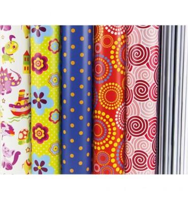 CLAIREFONTAINE Rouleaux papier cadeau ALLIANCE 60g - 2 m x 0,70 mm - 6 motifs fantaisies assortis