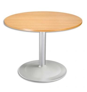 Table Ronde 80 Cm Pied Central.Sodematub Table Ronde Diametre 100 Cm Epaisseur 2 5 Cm Pied Tulip Diametre 80 Cm Hauteur 74 Cm Hetre Aluminium