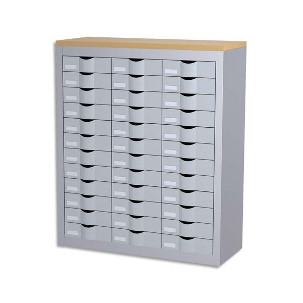 PAPERFLOW Meuble tiroirs 3 colonnes 36 tiroirs plastique et métal - L87 x H106,5 x P33,5 cm aluminium