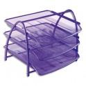 ALBA Set de 3 corbeilles à courrier MESH en métal - 29 x 24,5 x 34 cm coloris violet