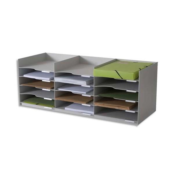 PAPERFLOW Bloc classeur 3 x 5 cases gris pour doc A4+ Capacité 500 feuilles - 85,7 x 32,3 x 33 cm