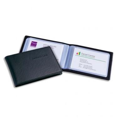 SIGEL Porte-cartes aspect cuir noir mat avec 20 pochettes, capacité 40 cartes