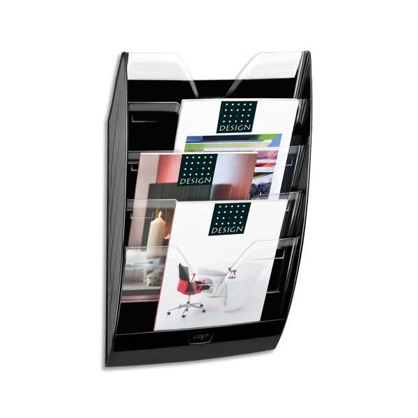 CEP Présentoir mural 5 compartiments 154H, kit de fixation fourni - L35 x H58 x P12,2 cm noir cristal