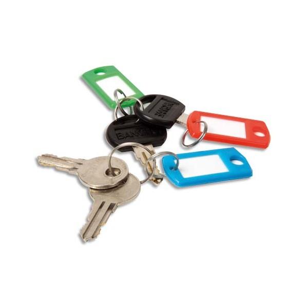 PAVO Boîte de 100 portes clés avec anneaux - Dimensions 5 x 2,2 cm coloris assortis (photo)