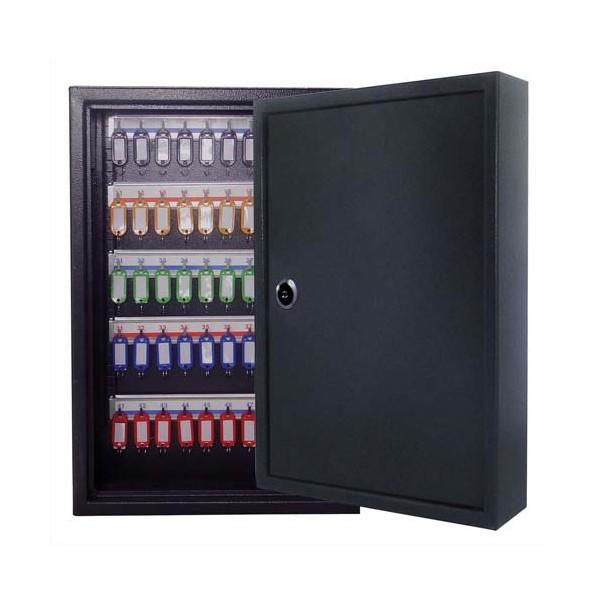PAVO Armoire à clés 80 clés, serrure à clés 2 fournies - 45 x 38 x 8 cm coloris gris foncé (photo)
