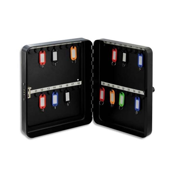 PAVO Armoire à clés à combinaison capacité 36 clés - Dimensions : 25 x 18 x 4,5 cm coloris gris foncé (photo)