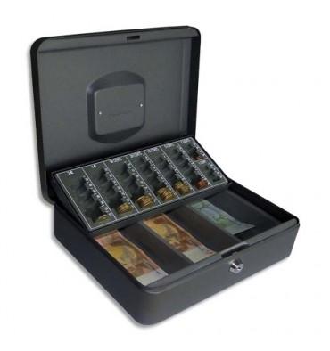 PAVO Caisse à monnaie et à billets Europa en acier, livré avec 2 clés - 30 x 9 x 23 cm noir
