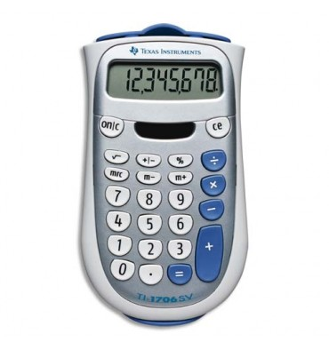 TEXAS INSTRUMENTS Calculatrice 8 chiffres TI 706SV, coloris gris et bleu