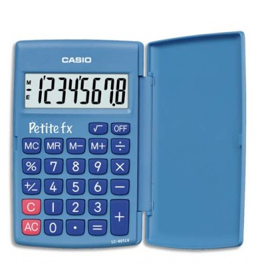 """CASIO Calculatrice Primaire """"Petite FX"""" à 8 chiffres avec clapet de protection, coloris bleu"""