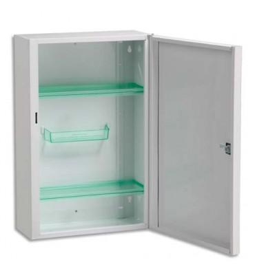 ROSSIGNOL Armoire à pharmacie acier fermeture à clef, 2 étagères 1 balconnet 31 x 45,5 x 14,5 cm blanc