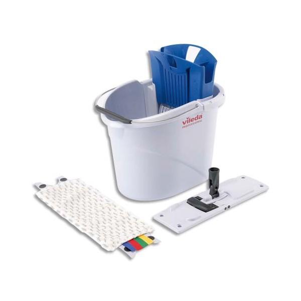 VILEDA Kit Seau gris capacité 10L 39 x 45 x 30 cm, presse bleu, 1 MicroMop et 1 Mopframe pour 10-30 m2