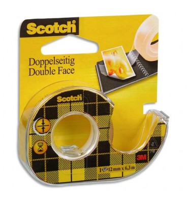 SCOTCH Adhésif double face transparent sur dévidoir, 12 mm x 6 m