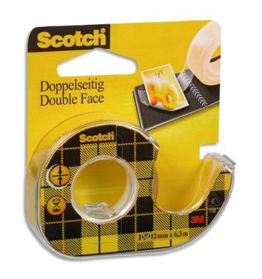 SCOTCH Adhésif double face transparent sur dévidoir, 12 mm x 6 m
