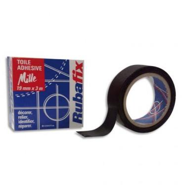 RUBAFIX Rouleau de toile adhésive MILLE plastifiée et imperméable noir de 19 mm x 3 m