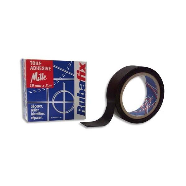 RUBAFIX Rouleau de toile adhésive MILLE plastifiée et imperméable noir de 19 mm x 3 m (photo)
