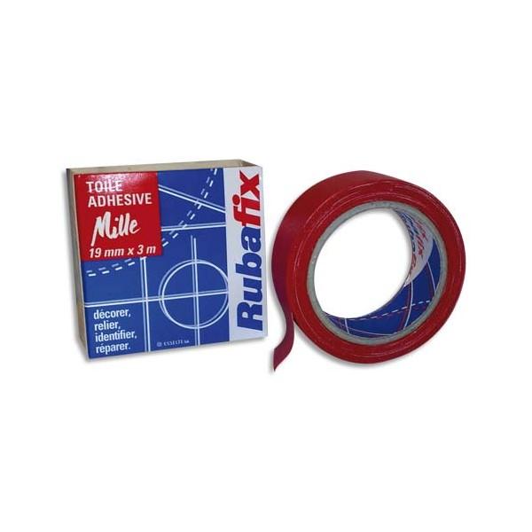 RUBAFIX Rouleau de toile adhésive MILLE plastifiée et imperméable rouge de 19 mm x 3 m (photo)