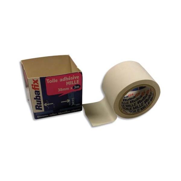 RUBAFIX Rouleau de toile adhésive MILLE plastifiée et imperméable blanche de 38 mm x 3 m