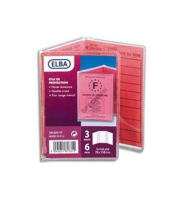 ELBA Etui 6 faces pour nouveau permis de conduire, 7,5 x 11 cm, en PVC 30/100e