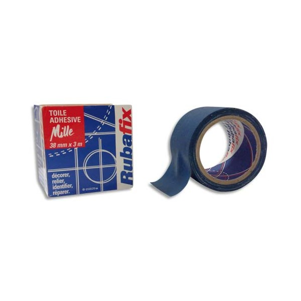 RUBAFIX Rouleau de toile adhésive MILLE plastifiée et imperméable beu de 38 mm x 3 m