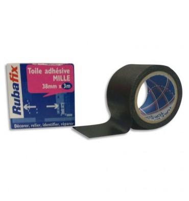 RUBAFIX Toile adhésive MILLE, plastifiée et imperméable, rouleau de 38 mm x 3 m noir
