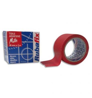 RUBAFIX Toile adhésive MILLE, plastifiée et imperméable, rouleau de 38 mm x 3 m rouge