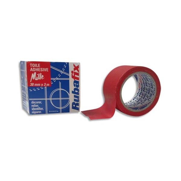 RUBAFIX Rouleau de toile adhésive MILLE plastifiée et imperméable rouge de 38 mm x 3 m