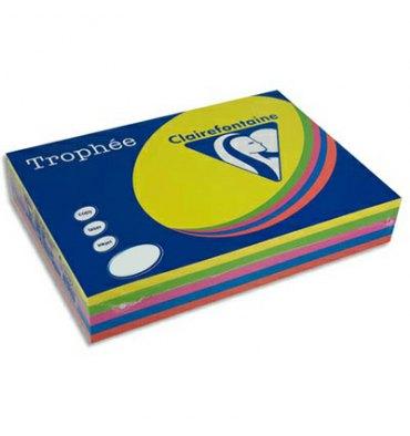CLAIREFONTAINE Ramette 4x125 feuilles papier couleur Trophée 80g A4 assortis fluo